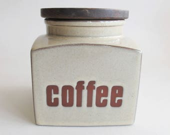 Seventies ceramic coffee canister. Wooden lid great shape!