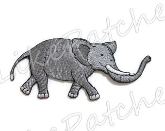 Cute Gray Elephant Animal Cartoon New Sew / Iron On Patch Embroidered Applique Size 12.9cm.x5.5cm.