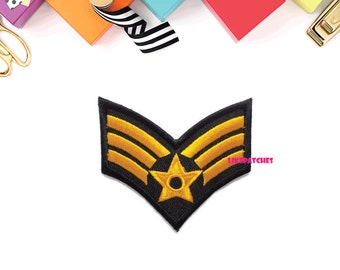Yellow Star Rank Badge New Sew / Iron On Patch Embroidered Applique Size 6.5cm.x5.8cm.