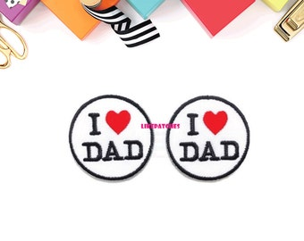 Set 2pcs. I Love DAD White Circle Red Hearts New Sew / Iron On Patches Embroidered Applique Size 4.1cm.x4.1cm.