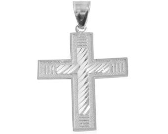 Diamond Cut Cross Pendant in Sterling Silver Without Chain Silver Weight 2 gms