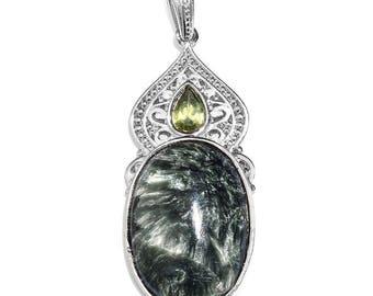 Siberian Seraphinite, Hebei Peridot Platinum Bond Brass Pendant without Chain TGW 18.910 Cts. 2682754