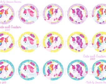Unicorn- 02- Bottle Cap Images- INSTANT DOWNLOAD- Digital Images- Unicorns- Colorful Unicorn- Unicorn Images- Unicorn Bottle Caps- 1 Inch