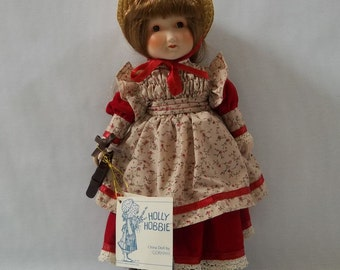 """Vintage Holly Hobbie Porcelain First Day of School 5th Anniversary in Box w/ Tags Collectible Doll Childhood Memories Gorham 12"""""""