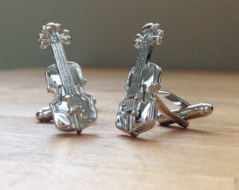 Silver violin cufflinks