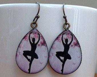 Antique brass ballerina impression in handmade resin cabochon setting - earrings.