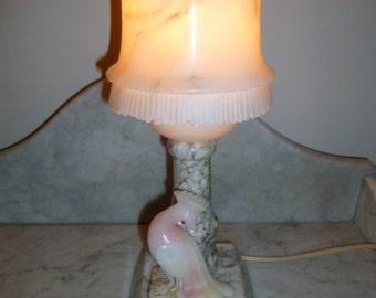 Art Deco Italian alabaster table lamp paradise bird original shade 1930