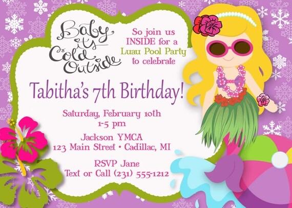 Hula Girl Mermaid Pool Party Invitation Luau Pool Party – Winter Pool Party Invitations