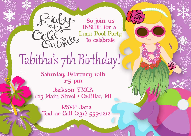 Hula Girl Mermaid Pool Party Invitation Luau Pool Party