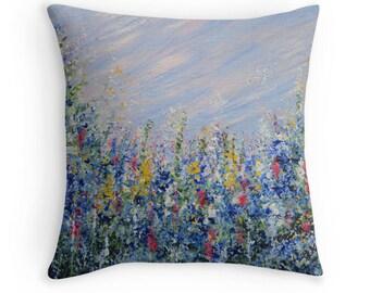 Decorative Throw Pillow, Blue Bells,  accent pillow, Toss Pillow, blue abstract, Sofa Pillow, patio pillow, outdoor pillow