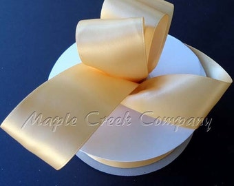 7/8 inch x 100 yards of Toffee Double Face Satin Ribbon - shines on both sides