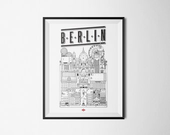 "Illustration Berlin - series ""Travel With Me"". Black and white 