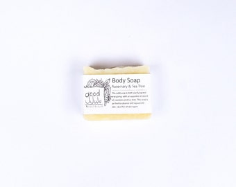 Rosemary and Tea Tree All Natural, Vegan, Sensitive Skin, Handmade Body Soap and Shampoo Bar