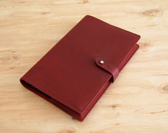 "Refillable Leather Journal, Burgundy Oil Tan Leather, 8-1/2"" X 5-1/2"", Ready to Ship"