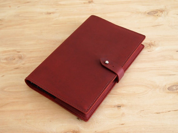 """Refillable Leather Journal, Burgundy Oil Tan Leather, 8-1/2"""" X 5-1/2"""", Ready to Ship"""