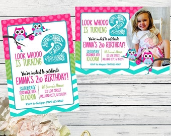 Owl birthday invitation- Pink and Teal Chevron ***Digital File*** (OWL-Summer)