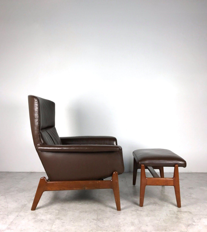 vintage mid century danish modern teak dux brown leather lounge