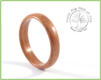 Slim and elegant red ring made of cherry wood. Hand made low dome ring. Custom made wood ring.