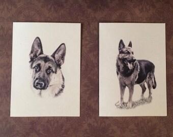 6 or 12 Handmade Blank German Shepherd Dog Print Note Cards