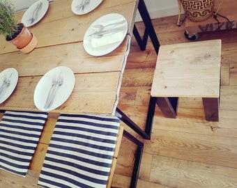 Reclaimed Wood & Steel Stools or side table.