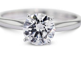 3 Carat Round Brilliant Cut Solitaire Diamond Engagement Ring  18K White Gold  #J21879   FREE SHIPPING