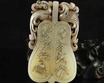 N3149 Chinese Hetian Jade Dragon Phoenix Pendant