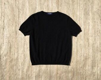 S A L E | Black Cashmere Short Sleeved Sweater | 90s vintage | minimalist | fuzzy | mohair | crew neck | basic | size medium | size large