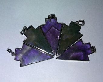 Gemstone native culture arrowhead shape silver plated pendants