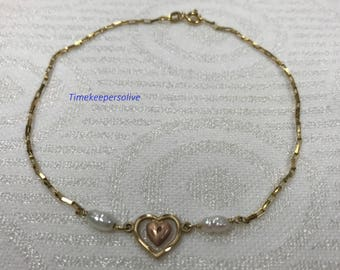 Beautiful 14k Yellow Gold Rose Gold Heart 2 Pearls Chain Bracelet Perfect Gift