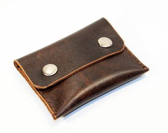 Leather coin wallet, brown coin wallet, great leather item, brown men's wallet, small coin wallet, gift for men, gift for women.