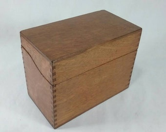 Vintage dovetail oak card catalog file box