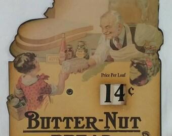 Vintage butternut bread advertising sign cardboard adjustable price per loaf