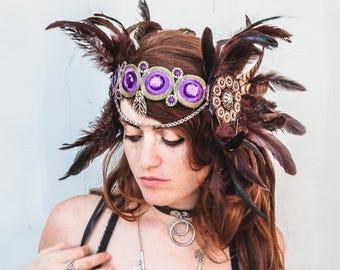 Brown Warrior headpiece, festival feathered crown, Goddess Headpiece, Tribal fusion headpiece, feathered Princess headpiece, burning man