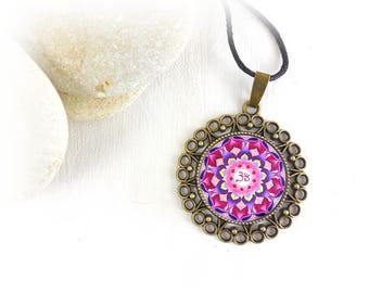 Energy mandala jewelry with healing pendant; zen necklace with mandala for strength and inner balance; gift idea for her.