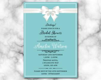 Bridal Shower Invitation, breakfast at tiffany's invitation, Digital File, PDF, Bride to be, hen party invitation, bridal shower printable