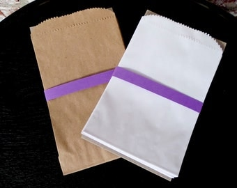 100 White or Natural Kraft 4 x 6 Paper Merchandise Bags - Perfect for Candy Bars, Favors and Treats for Weddings, Birthdays or Showers
