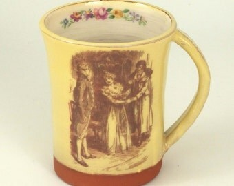 Illustrated mug - pottery mug - vintage illustration mug - Kathy and Heathcliff - Wuthering Heights mug - Emily Bronte mug - quotation mug