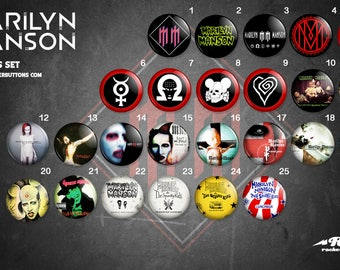 collection sheets Marilyn Manson / / Marilyn Manson buttons collection