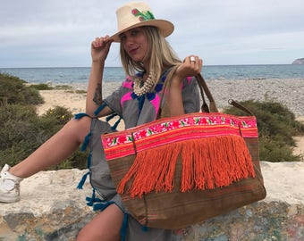 Boho  flower fabric vintage embroidery bag from Ibiza