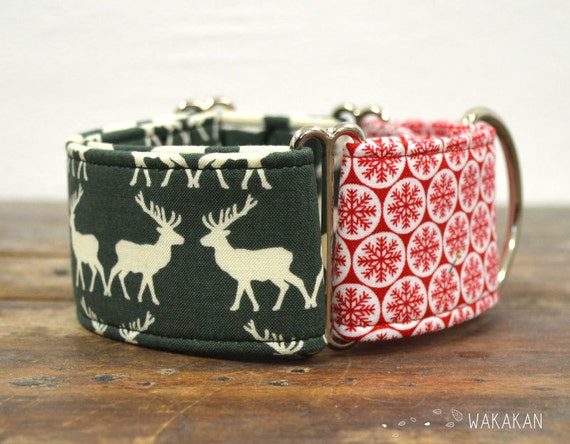 Martingale dog collar model Reindeer. Adjustable and handmade with 100% cotton fabric. Christmas winter style. Wakakan