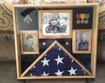Memorial 5x9.5 Burial Flag Display with 3 Picture Frames