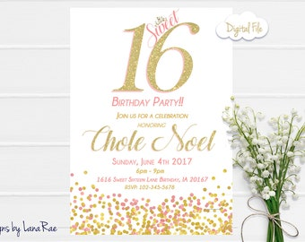 Sweet 16 Birthday Party, Sweet 16 Birthday Invitation, sweet sixteen, 16th birthday invitation - digital file