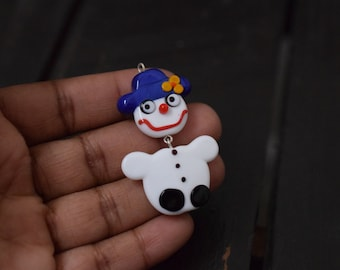Handmade Lampwork Glass Christmas Snowman Pendant, 1pc