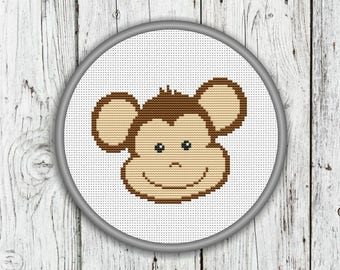 Cute Monkey Face Counted Cross Stitch Pattern, Animals Needlepoint Pattern - PDF, Instant Download