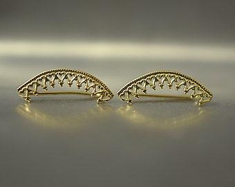 Gold Crown earrings , Bridal ear cuff , Wedding earrings gold , Gold Ear climber , Bride earrings , gold ear pin earrings, climbing earrings