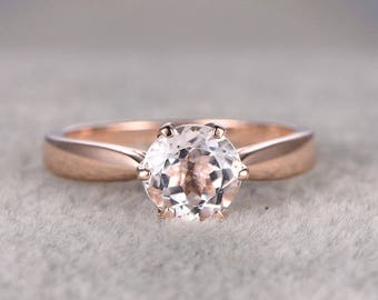 Bestselling Morganite Engagement Ring on Sale: 1 Carat Morganite Solitaire Engagement Ring in 10k Rose Gold