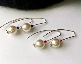 Modern Earrings 2 Styles Pearl Earrings Silver Earrings Gift for Women Gift for Girlfriend Gift for Wife Gift for Mom Gift for Sister Gift