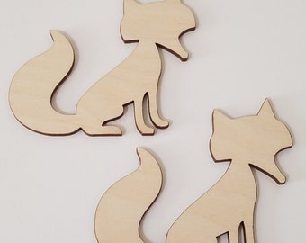 Set of 6 Wooden Fox Cut Outs ( Embellishments, Scrap Booking, Decoupage)