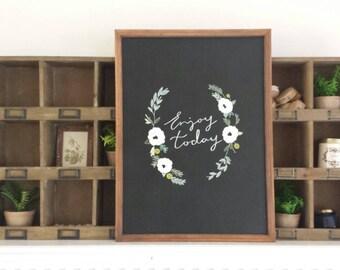 Woodland Botanical- ENJOY TODAY Decorative Chalkboard {Home Decor}