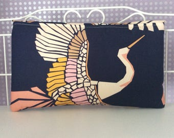 Vintage bird mosaic navy multi coloured clutch bag